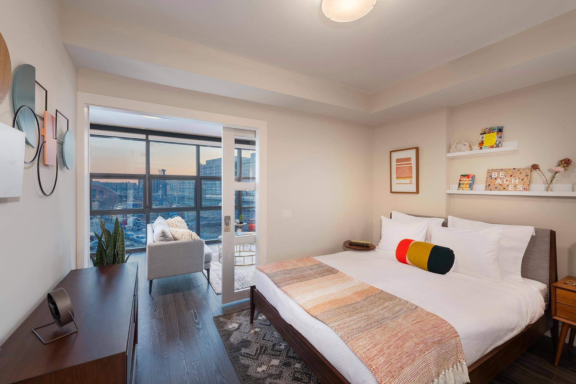 bedroom pocket door opens to living room