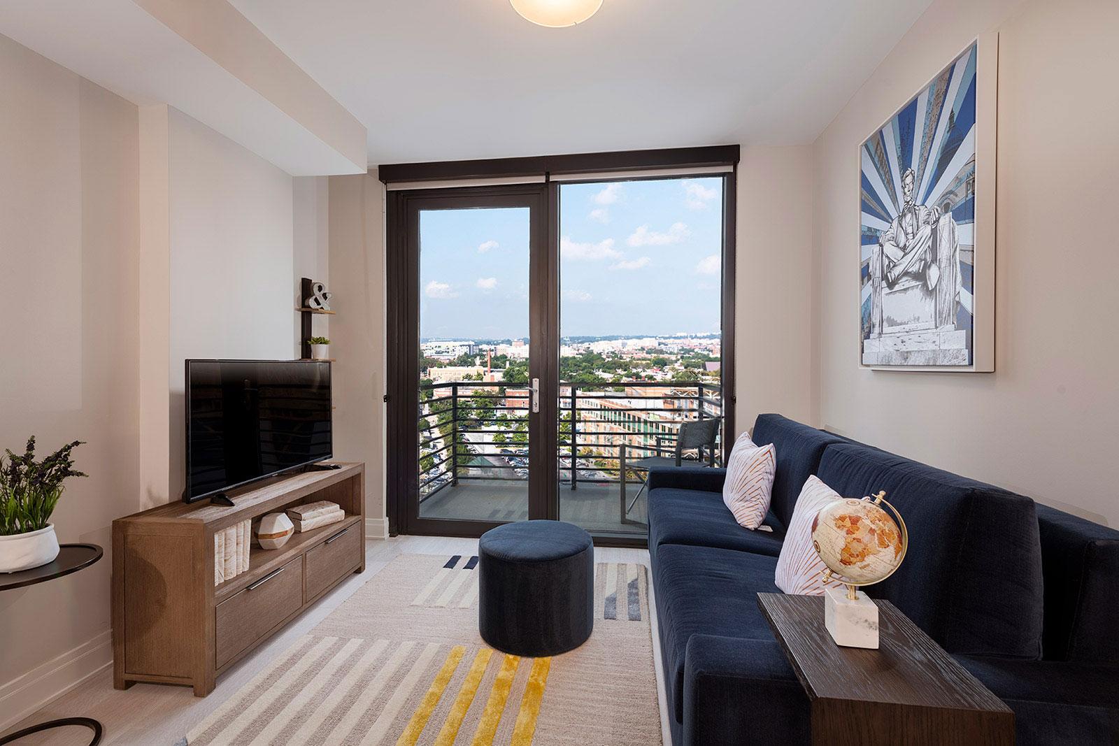 living room opens to balcony