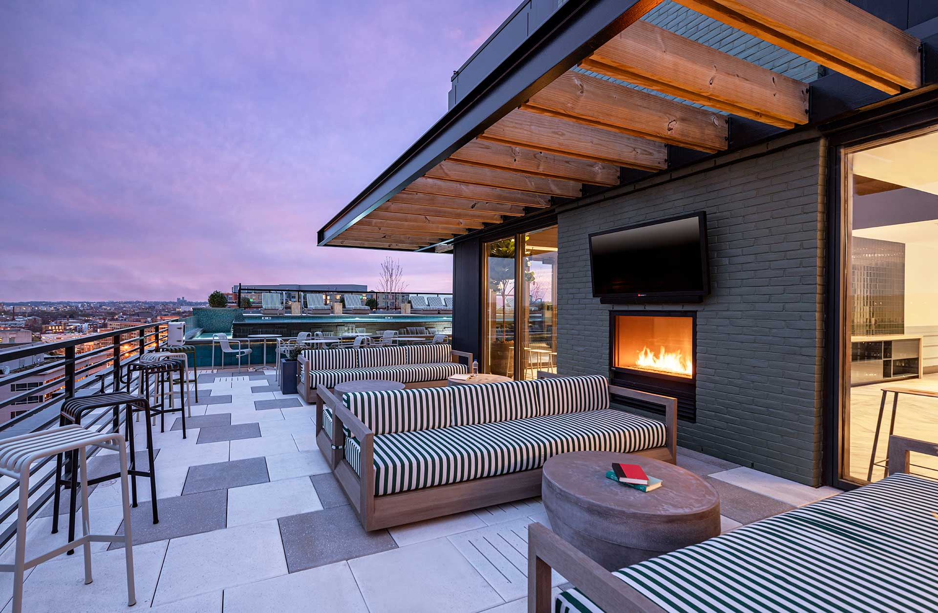 rooftop firepit and seating