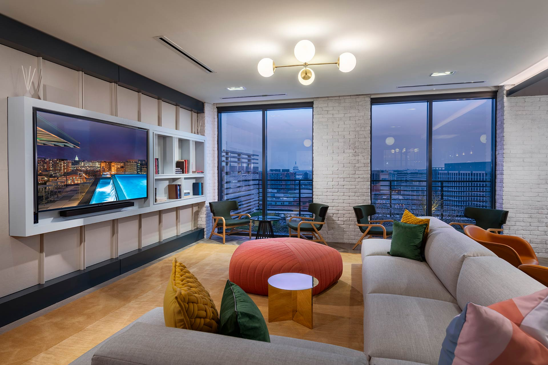 penthouselounge area with large television