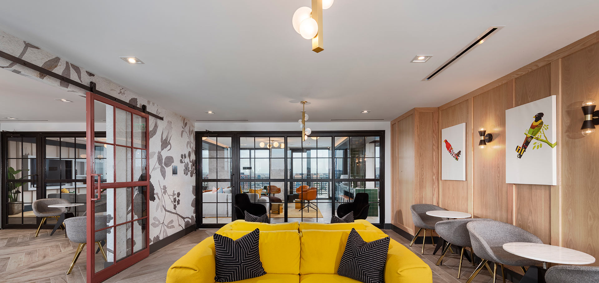 comfortable seating area with yellow sofa