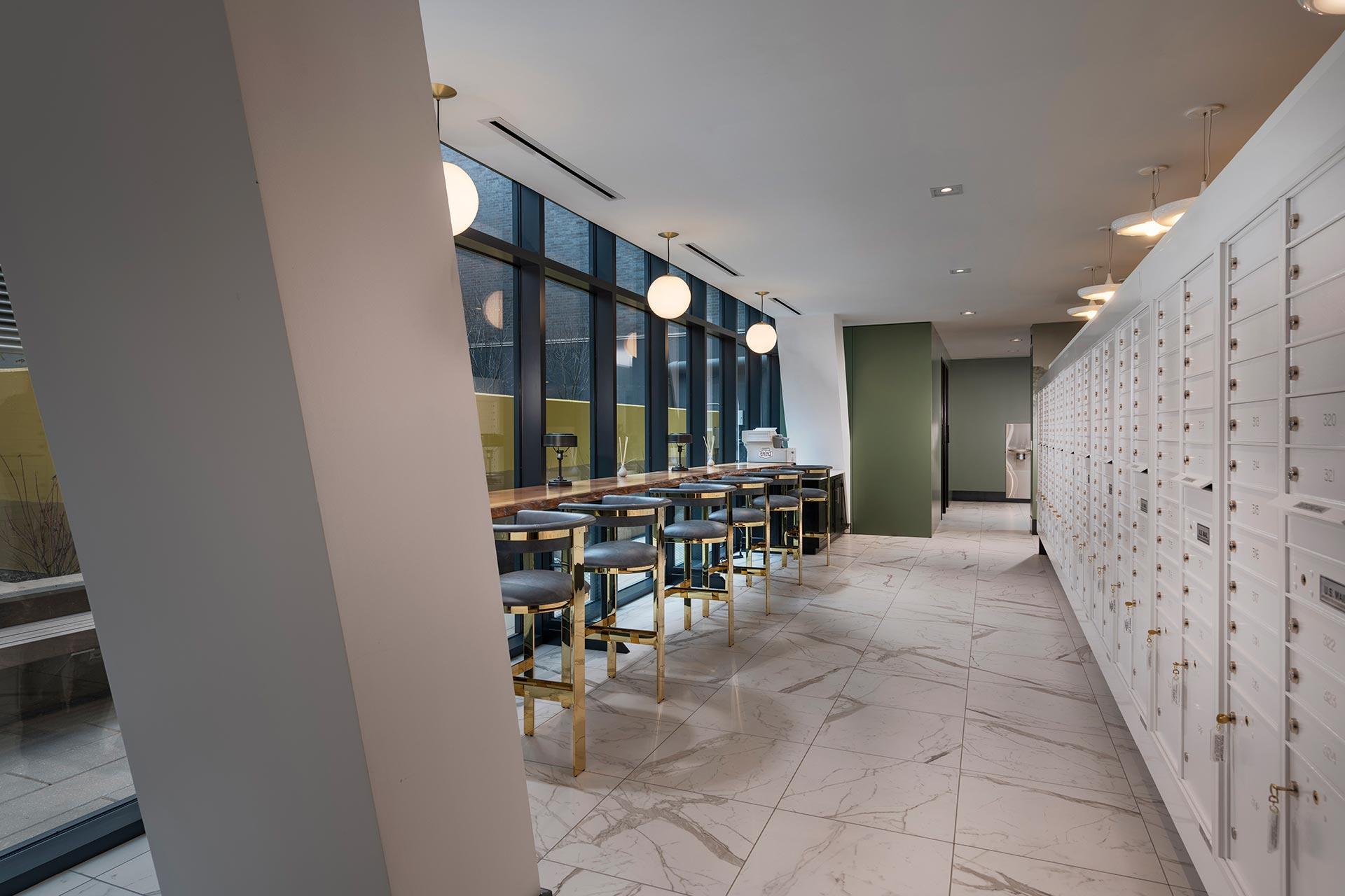 Window-lit bar off the co-working lounge