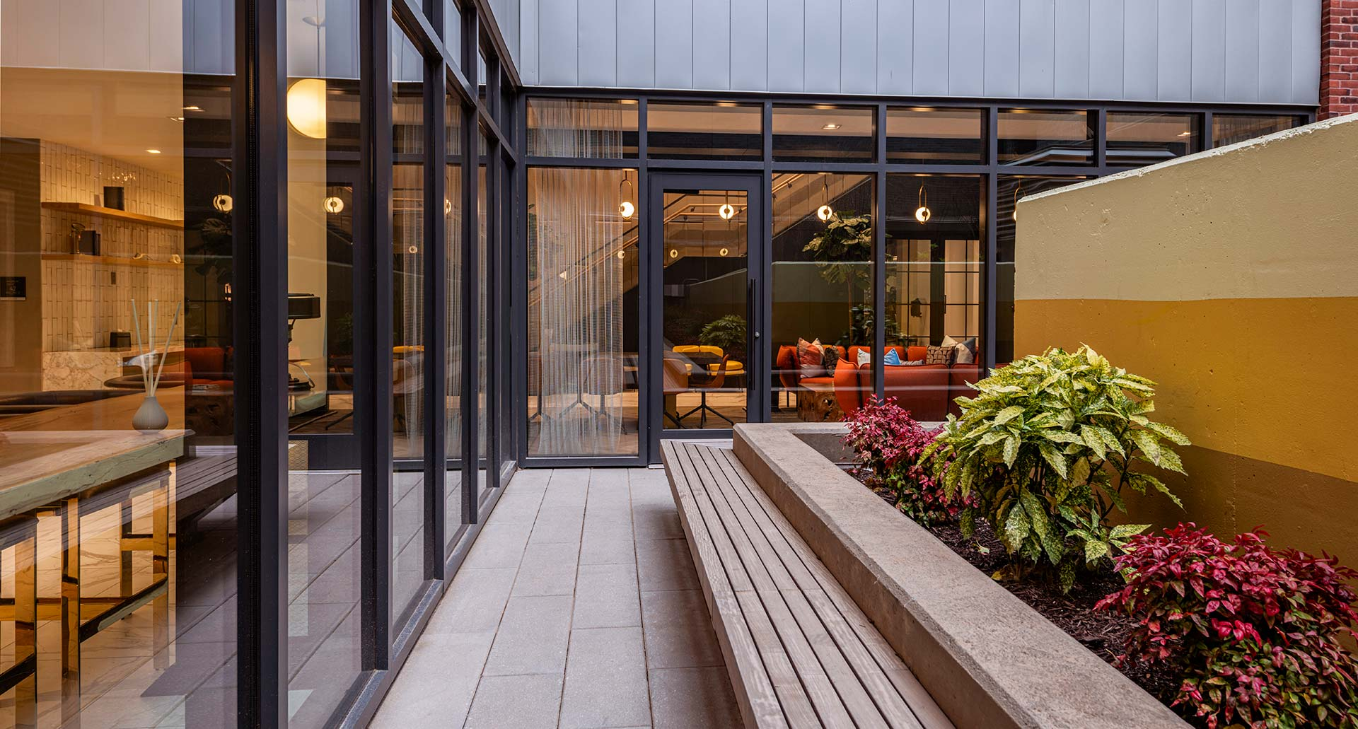 interior courtyard with bench seating and plants