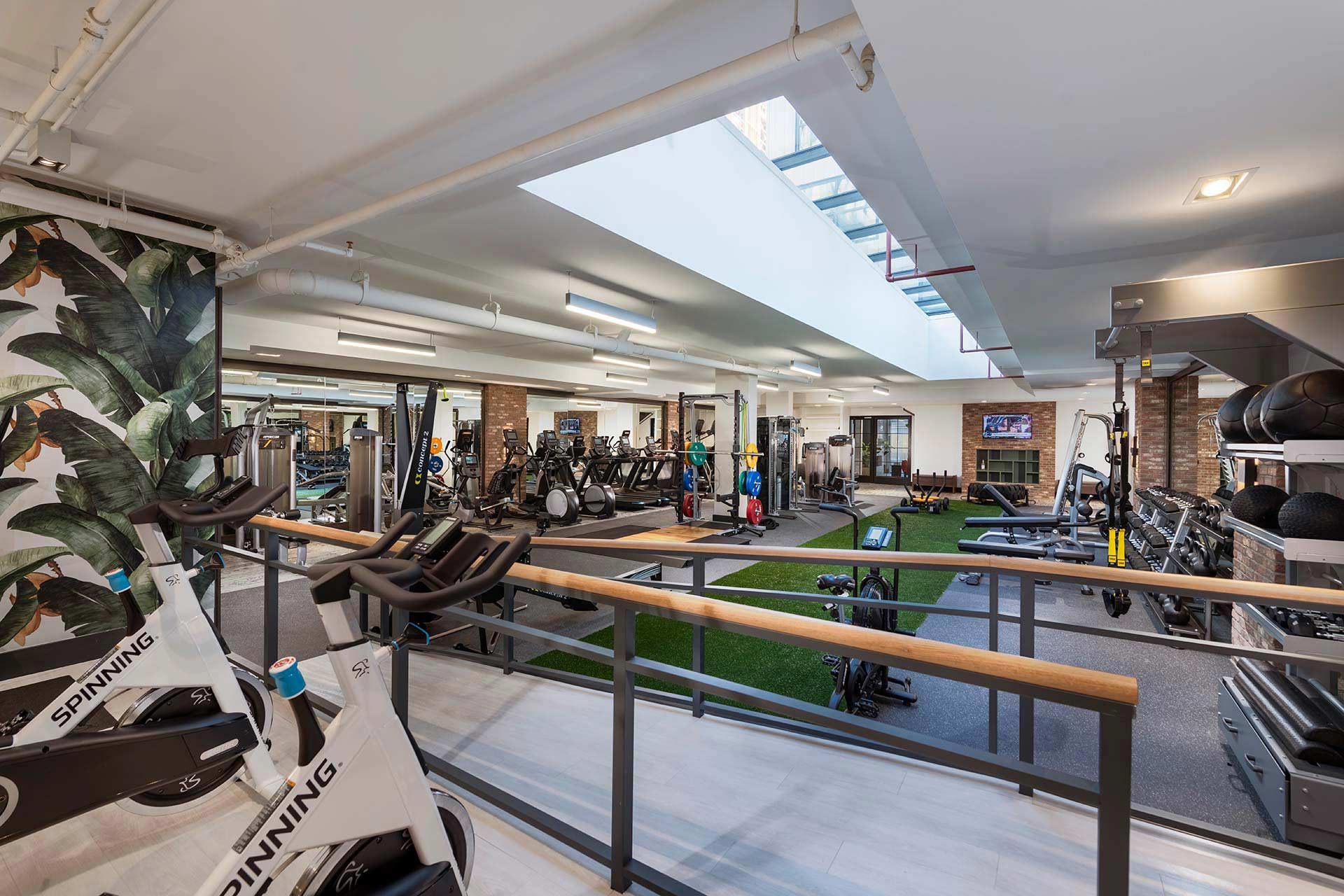 gym with indoor spin bicycles